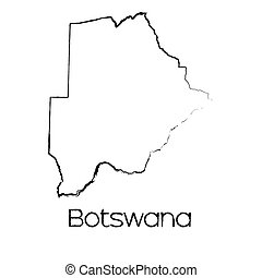 Scribbled Shape of the Country of Botswana - A Scribbled...