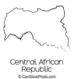 Scribbled Shape of the Country of Central African Republic -...
