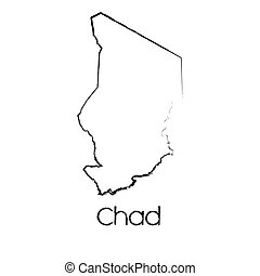 Scribbled Shape of the Country of Chad - A Scribbled Shape...