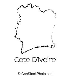 Scribbled Shape of the Country of Cote Divoire - A Scribbled...