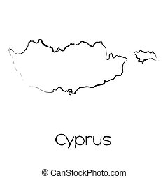 Scribbled Shape of the Country of Cyprus - A Scribbled Shape...