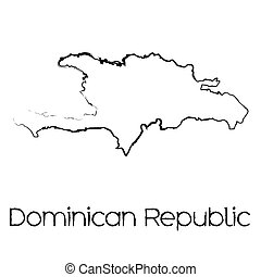 Scribbled Shape of the Country of Dominican Republic - A...
