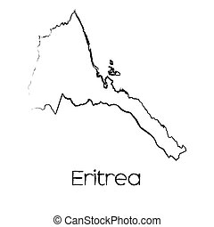 Scribbled Shape of the Country of Eritrea - A Scribbled...