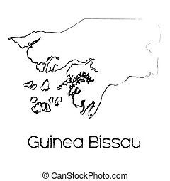 Scribbled Shape of the Country of Guinea Bissau - A...