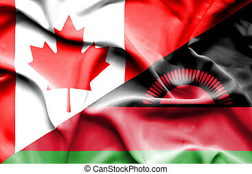 Waving flag of Malawi and Canada