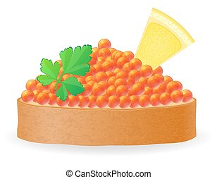 sandwich with red caviar lemon and parsley vector...