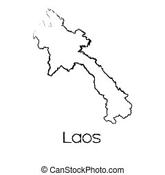 Scribbled Shape of the Country of Laos - A Scribbled Shape...