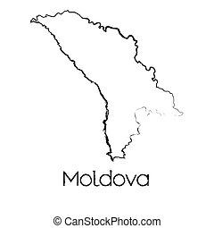 Scribbled Shape of the Country of Moldova - A Scribbled...