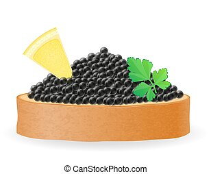 sandwich with black caviar lemon and parsley vector...