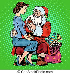Christmas gift Santa Claus and a beautiful girl Retro style...