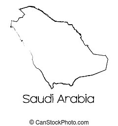 Scribbled Shape of the Country of Saudi Arabia - A Scribbled...