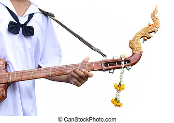 Studen artist playing Phin stringed plucked instrument Thai...