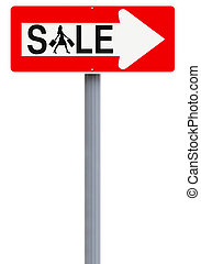 Sale This Way - A modified one way sign indicating Sale...