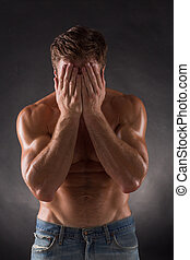 Shirtless mascular man - Portrait of shirtless mascular man...
