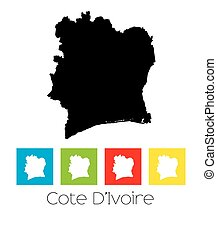 Outlines and Coloured Squares of the Country of Cote Divoire...