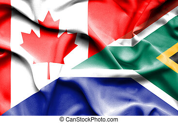 Waving flag of South Africa and Canada