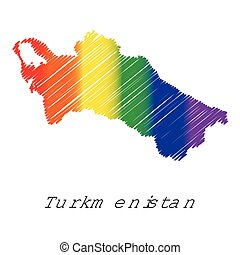 LGBT Coloured Scribbled Shape of the Country of Turkmenistan...