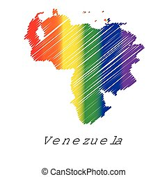 LGBT Coloured Scribbled Shape of the Country of Venezuela -...