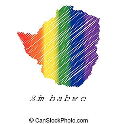 LGBT Coloured Scribbled Shape of the Country of Zimbabwe -...