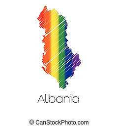 LGBT Coloured Scribbled Shape of the Country of Albania - An...