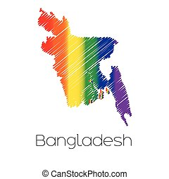 LGBT Coloured Scribbled Shape of the Country of Bangladesh -...