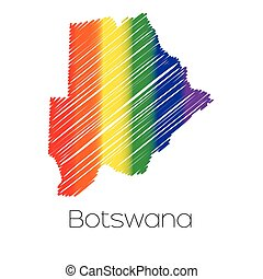 LGBT Coloured Scribbled Shape of the Country of Botswana -...