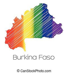 LGBT Coloured Scribbled Shape of the Country of Burkina Faso...