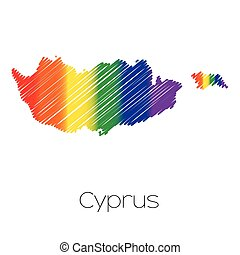 LGBT Coloured Scribbled Shape of the Country of Cyprus - An...