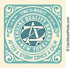 Retro card with monogram