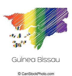 LGBT Coloured Scribbled Shape of the Country of Guinea...