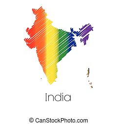 LGBT Coloured Scribbled Shape of the Country of India