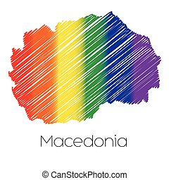 LGBT Coloured Scribbled Shape of the Country of Macedonia -...