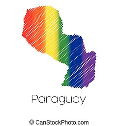 LGBT Coloured Scribbled Shape of the Country of Paraguay -...