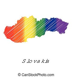 LGBT Coloured Scribbled Shape of the Country of Slovakia -...