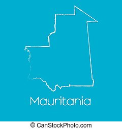 Map of the country of Mauritania