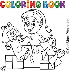 Coloring book girl with doll and gifts