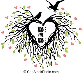 heart shaped bird nest, vector - heart shaped bird nest,...