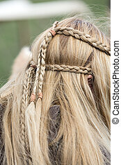 plaited hair - Close up of plaited hair