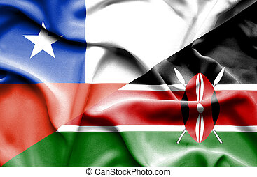 Waving flag of Kenya and Chile