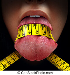 Calorie Restriction - Calorie restriction concept as a tape...