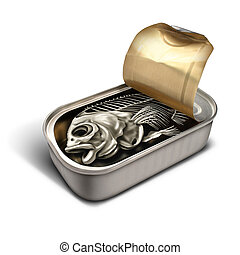 Empty Promise - Empty promise concept as an open sardine can...