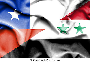 Waving flag of Syria and Chile