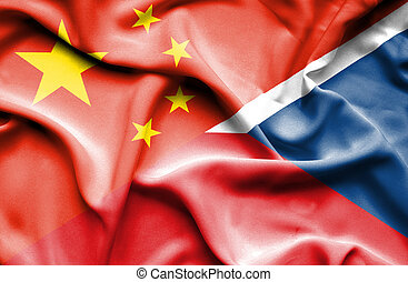 Waving flag of Czech Republic and China