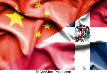 Waving flag of Dominican Republic and China