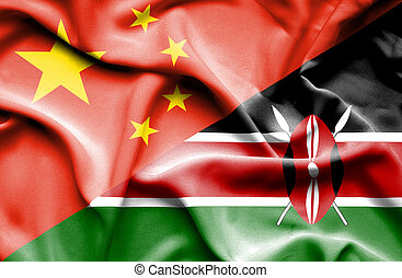 Waving flag of Kenya and China