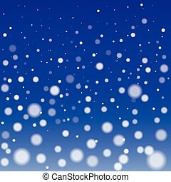 Winter Snowfall Background with Round Fluffy Snowflakes