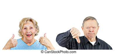 Yea or Nay couple - Senior woman giving two thumbs up and...