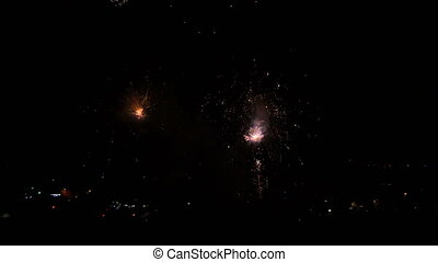 Fireworks Rockets at Night - Pyrotechnics in Terrassa,...