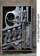 nascimento, máquina, escultura, em, Gruyeres,...