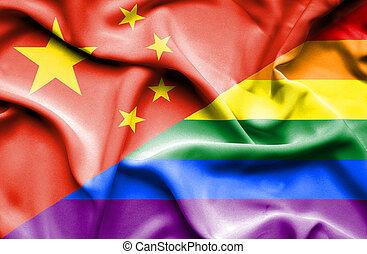Waving flag of Pride and China